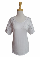 """Multiples Clothing #M27202TM """"Pulitzer Prize"""" White Top/Silver Grommets"""