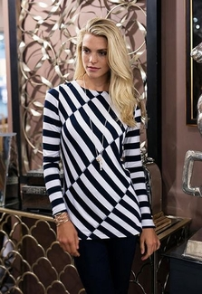 Sharon Young #S17219TM Navy/White Spliced Stripe Top