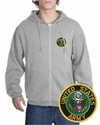 Army Patch Full Zippered Hoody