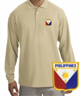 Filipino  Patch Long Sleeve Polo