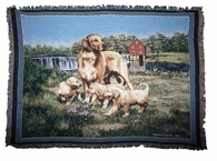 Golden Retriever Family Afghan Throw