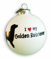 I Love My Golden Retriever Holiday Ornament