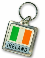 Lucite Ireland Flag Key Chain