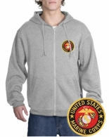 Marines Patch Full Zippered Hoody