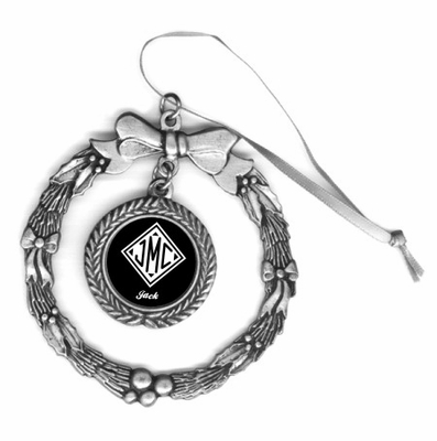 Monogrammed Gifts Pewter Holiday Ornament
