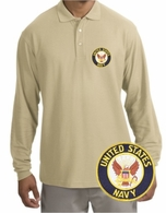 Navy Patch Long Sleeve Polo