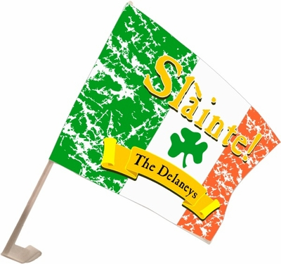 "Slainte Irish ""To Health""  Car Flag"