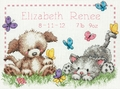 Cross Stitch Kit Pet Friends Birth Record From Dimensions
