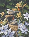 Needlepoint Kit Chickadees & Lilies From Dimensions