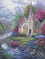 Needlepoint Kit Tranquil Church From Dimensions