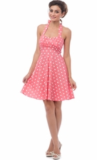 50s Retro Rockabilly Polka Dot Halter Dress