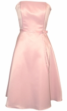 50s Strapless Satin Bridesmaid Prom Dress