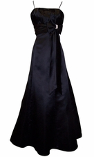 50s Style Long Satin Bridesmaid Prom Dress