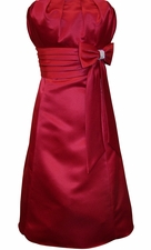 50s Style Speghetti Strap Satin Prom Dress With Bow