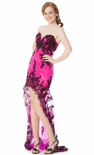 Applique Lace High-Low Prom Dress w/ Train