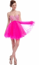 Babydoll Crystal Mini Prom Dress