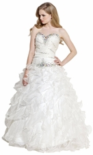 Beaded Bandage Organza Ruffle Ball Gown