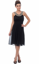 Beaded Bib Mesh Bridesmaid Dress Knee-Length