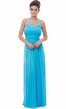 Beaded Bib Mesh Long Bridesmaid Dress