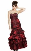 Beaded Embroidered Taffeta Long Gown Prom  Dress