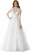 Beaded Lace Tulle Long Prom Wedding Dress