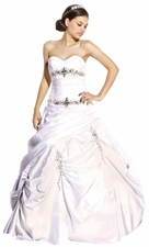 Beaded Matte Taffeta Strapless Wedding Gown Bridal Dress