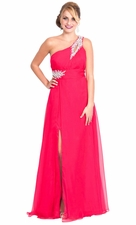 Beaded One Shoulder Mother of the Bride Dress