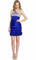 Beaded Satin Empire Mini Prom Dress with Florettes