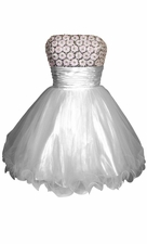 Beaded Sequin Mesh Party Mini Prom Dress