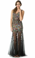 Bejeweled Sheer Black Mesh Red Carpet Long Prom Dress