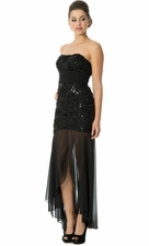 Ribbon Applique Sequined High-Low Prom Cocktail Dress