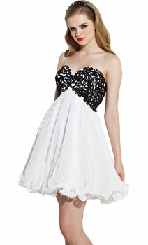 Chiffon Embroidered Babydoll Prom Dress