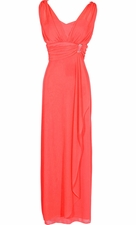 Sleeveless Faux Wrap Bridesmaid Long Prom Dress