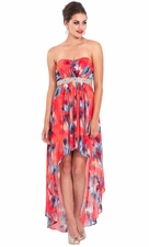 Strapless High-Low Feather Print Prom Dress