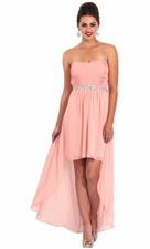 Chiffon Strapless High-Low Bridesmaid Prom Dress