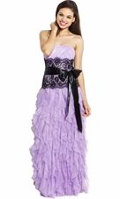 Contrast Lace Ruffle Long Prom Dress