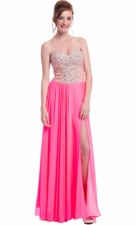 Crystal Bodice Long Prom Dress