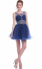 Crystal Sleeveless Short Prom Dress