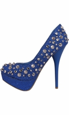 Crystal Spiked Sparkle Platform Pumps