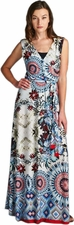 Floral Geometric Faux Wrap Maxi Dress