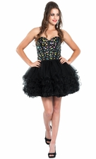 Strapless Gem Corset Ruffle Short Prom Dress