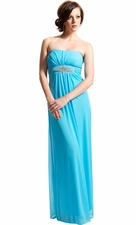 Goddess Empire Strapless Chiffon Dress w/Rhinestone Accent