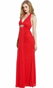 Halter Chiffon & Crystals Prom Party Maxi Dress