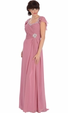 Jeweled Chiffon Capelet Mother of the Bride Dress