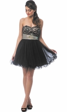 Jeweled Lace Short Prom Dress