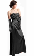 Jeweled Satin Strapless Long Prom Dress Bow