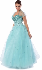 Jewelled Tulle Ball Gown Long Prom Dress
