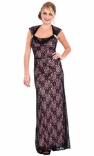 Lace Overlay Long Gown MOB Prom Dress