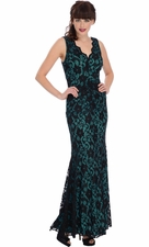 Lace Sleeveless Mermaid Prom Dress