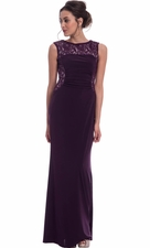 Lace Solid Long Bridesmaid Mother of the Bride Dress